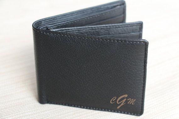 Personalized Bi-Fold Men's Genuine Leather Wallet, Mens Laser Engraved Wallet, Groomsmen Gift, Monogram Wallet, Gift for Men, Custom Wallet, Unique Gift for Dad
