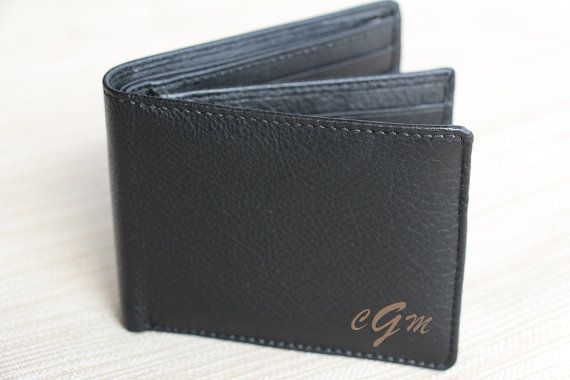 Personalized Bi-Fold Men's Genuine Leather Wallet, Mens Laser Engraved Wallet, Groomsmen Gift, Monogram Wallet, Gift for Men, Custom Wallet, Unique Gift for Dad