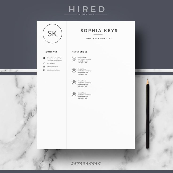 19 best Minimalist Resume \/ CV Templates images on Pinterest - microsoft word references template