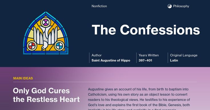 This study guide and infographic for Saint Augustine's Confessions offer summary and analysis on themes, symbols, and other literary devices found in the text. Explore Course Hero's library of literature materials, including documents, Q&A pairs, and flashcards created by students and educators.