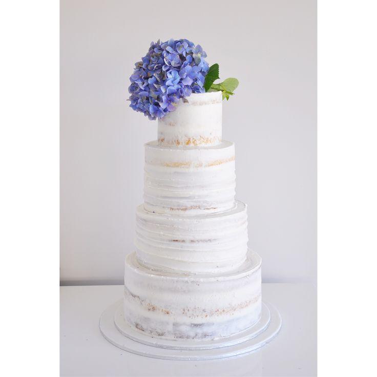 White & Hydrangea wedding cake ... Semi naked