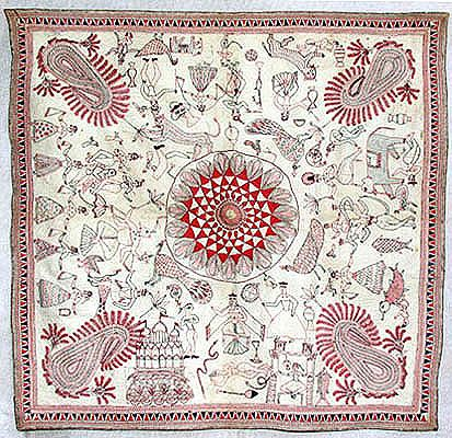 """Bayton Kantha C. 19th Century A.D. Size: 2'10"""" X 2' 10"""" Khulna (Undivided Bengal) Note: Baytan Kanthas are used to cover food plates"""