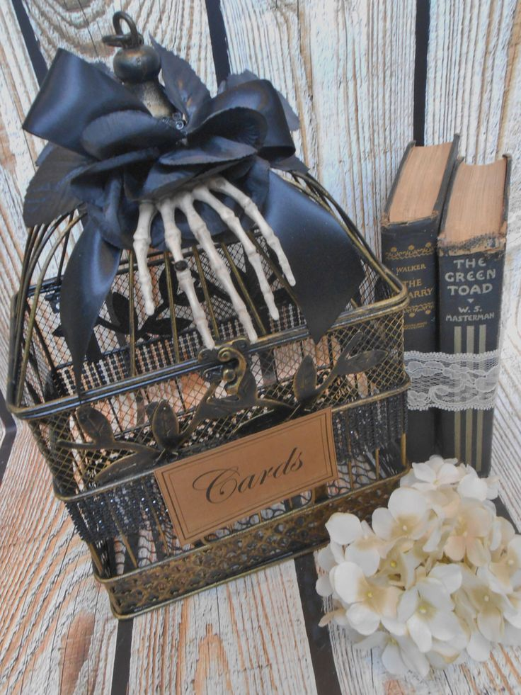 Small Wedding Birdcage Card Holder / Halloween Wedding / Gothic Wedding / Skeleton Hand / Spooky by ThoseDays on Etsy https://www.etsy.com/listing/230929372/small-wedding-birdcage-card-holder