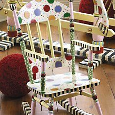 This rocker is Mackenzie Childs too!  I luv these rockers.  Ava has a handpainted rocker in her room that resembles this.: Paintings Furniture, Child Chairs, Polka Dots, Paintings Kids Chairs, Paintings Ideas, Children Furniture, Child Rocks Chairs, Furniture Ideas, Kids Rooms