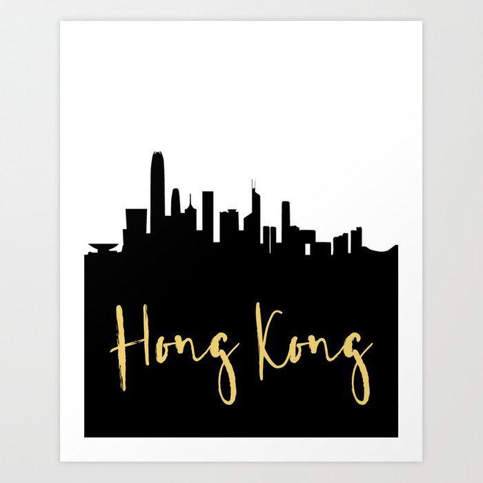 Hong Kong China Designer Silhouette Skyline Art Skyline Art Travel Wall Art City Skyline Art