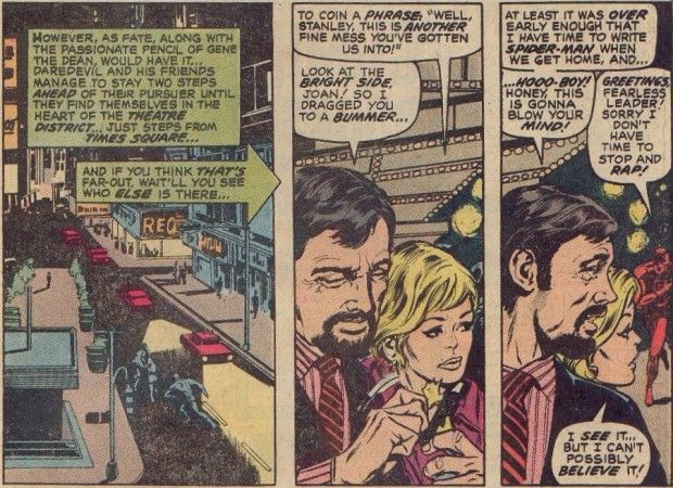 Stan Lee can't believe his eyes (and neither can wife Joan) when Daredevil takes a jog!