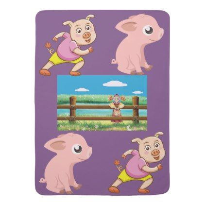 """Best Pig Baby Blankets """"PERSONALIZE COLOR CHOICE - baby shower ideas party babies newborn gifts"""