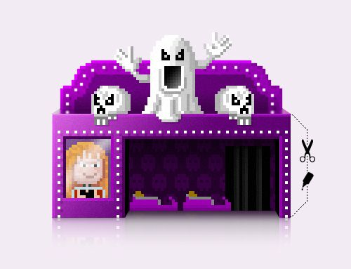 Spooky PixelMogul ghost train papercraft model. Download, build, have fun an share it! http://pixelmogul.ala.ch/#papercraft