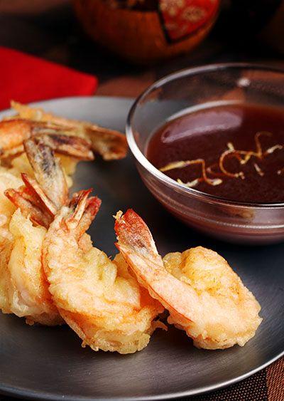 Shrimp Tempura with POM Wasabi Sauce