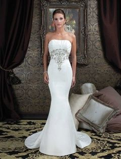 2014 Style Trumpet / Mermaid Strapless Sweep / Brush Train Sleeveless Satin Wedding Dresses For Brides