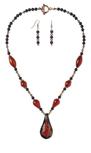 Single-Strand Necklace and Earring Set with Glass Focal, Hand-Blown Glass Beads and Swarovski Crystal Pearls
