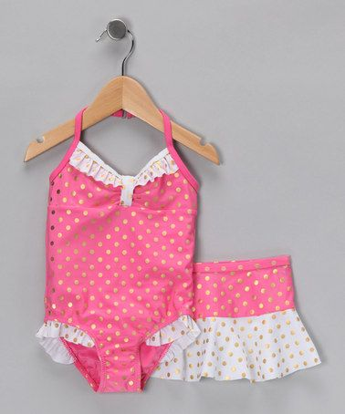 Take a look at this Baby Buns Fuchsia Polka Dot One-Piece & Skirt - Infant by Baby Buns on #zulily today!