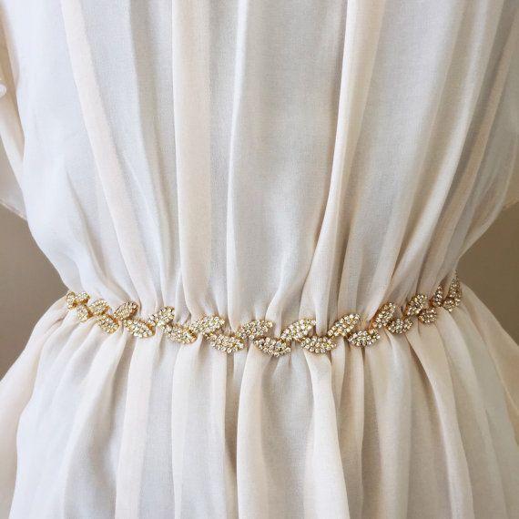 Gold boho bridal belt thin gold leaf bridal sash gold for Gold belt for wedding dress
