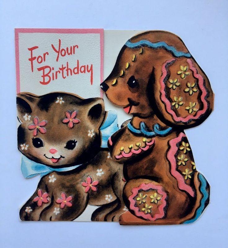 hallmark vintage die cut birthday card kitty cat puppy dog cookie chocolate pink