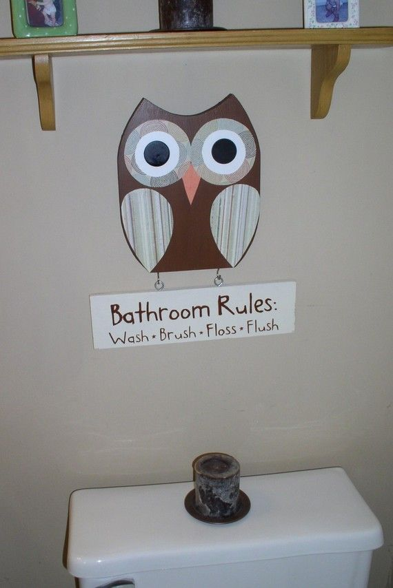 Owl bathroom decor, bathroom rules sign, wooden owl decor, childrenu0027s  bathroom, owl wall decor, wall art