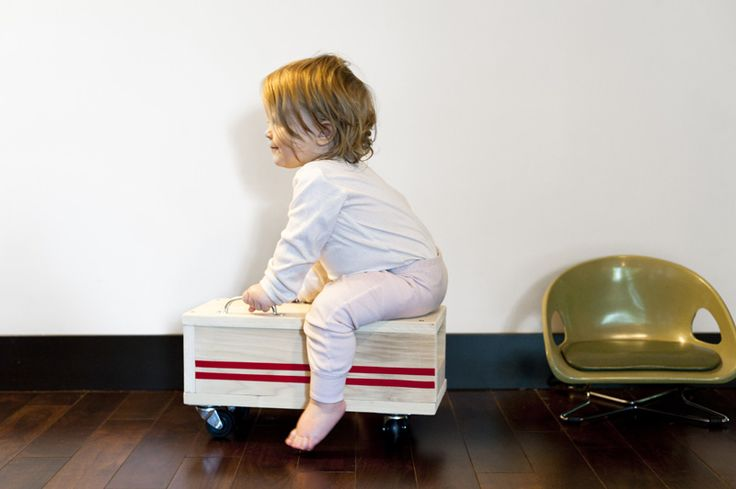 Fun homemade rolling toy for toddlers to push and ride, from Made by Joel Modern
