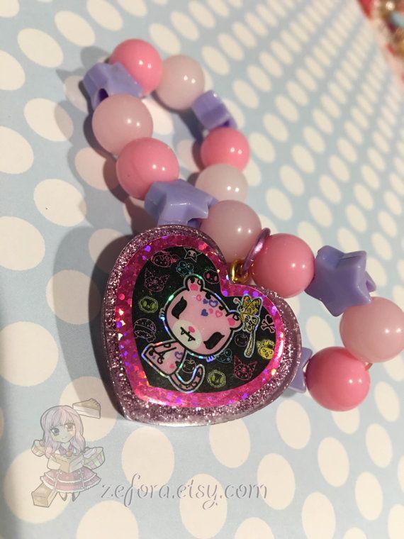 Tokidoki Safari Leopard Glitter Heart Charm Pastel Beads by zefora