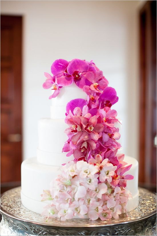 pink floral ombre wedding cake by Bacara Resort and Spa