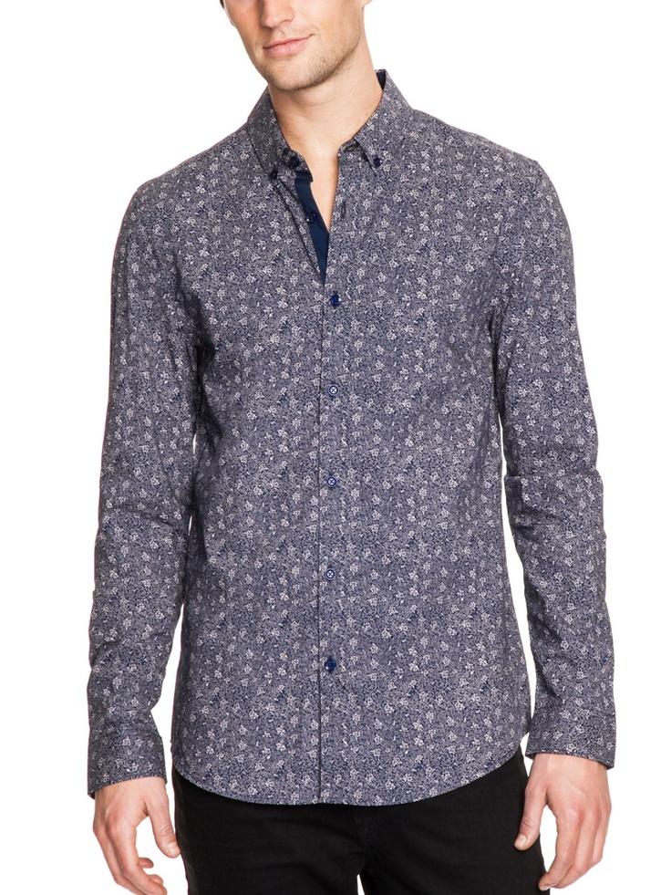GUESS Dean Smart Slim-Fit Shirt in Ashton Flor, INK (XXL)