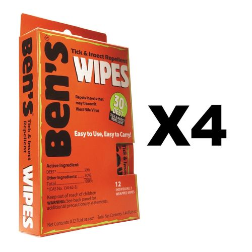 Adventure Medical Kits Ben's 30 Tick & Insect Repellent Wipes (4 Pack of 12)