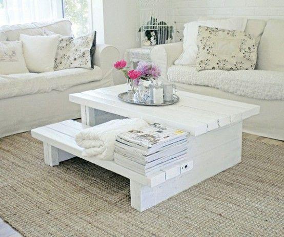 Table basse en palette à 2 niveaux