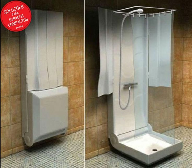"""Um box quase portátil? Essa é mais ou menos essa a ideia. Esse box fica """"fechado"""", preso à parede. Quando aberto, uma base e as laterais transformam a estrutura em um espaço para o banho."""