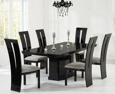 Buy The Carvelle Black Pedestal Marble Dining Table With Raphael Chairs At Oak Furniture Superstore