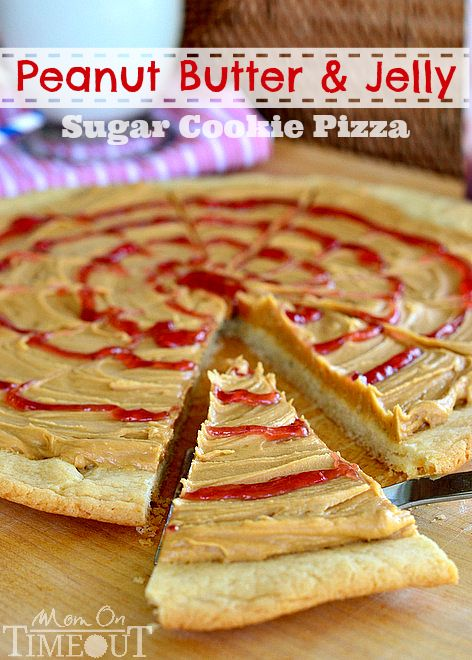 Peanut Butter and Jelly Pizza:  1 roll refrigerated Pillsbury Sugar Cookie Dough   1 cup peanut butter   1 cup powdered sugar   1/2 cup butter, softened   2-3 Tbls milk   1/4 cup jelly (any kind)