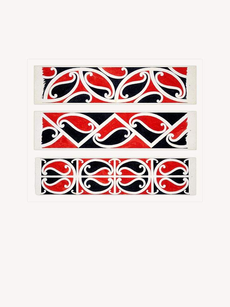 Maori Rafter Designs Nos. 7-8-9 by Herbert Williams (1860-1937) - Reproduction art-prints available from www.imagevault.co.nz