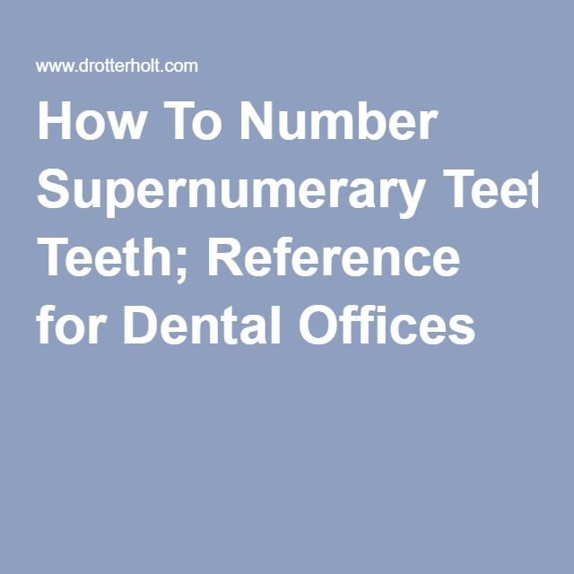 How To Number Supernumerary Teeth; Reference for Dental Offices
