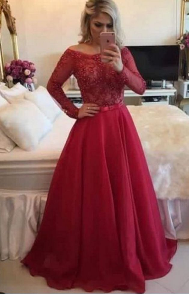 Pretty red prom dress, A-line lace prom dress,