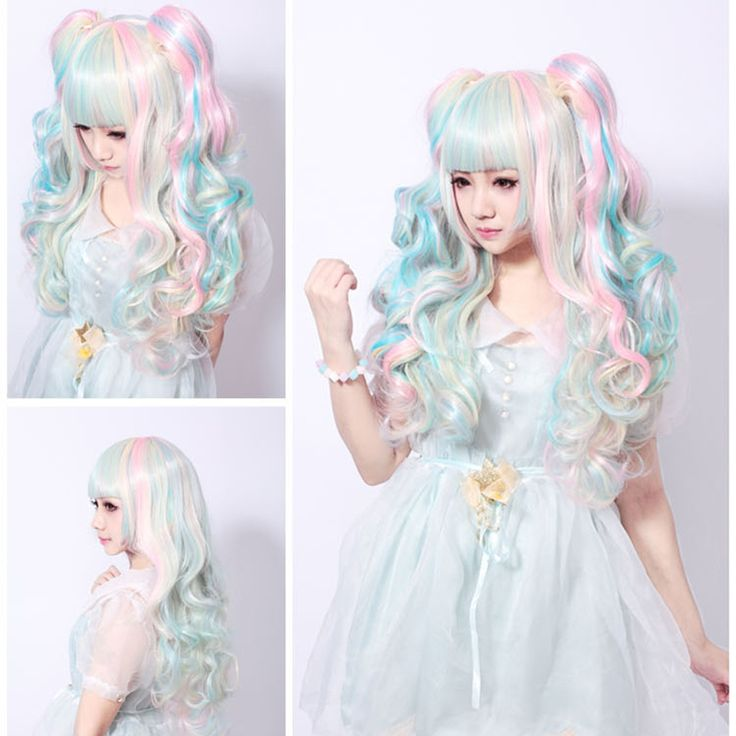 1PC Synthetic Hair Extension Wig Ombre Wig Pink With Blue Long Wavy Style Flat bangs Hairpiece Kinky Curly Wig For Cosplay Wig.Made by 100% Japan high temperature fiber,looks like real hair and more confortable,soft,breathable.It brings out a positive and happy mood everywhere around us and that to make some change in the hairstyle.A comfortable experience, a confident appearance.Ok, maybe  you can think about the cosplay wigs.