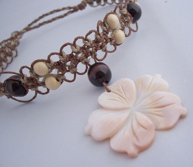 images of hemp jewelry  | Hemp Jewelry-Natural and Brown Hemp Necklace/Choker with Wooden Beads ...