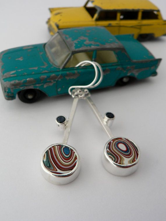 Fordite and Sapphire Drop Earrings by KirstyMuirJewellery on Etsy, £100.00