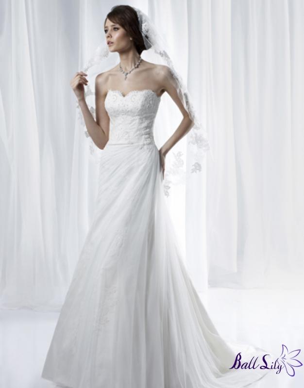 www.balllily.com  $256 White A Line Strapless Lace Taffeta Anjolique  Wedding Dress  AWD024