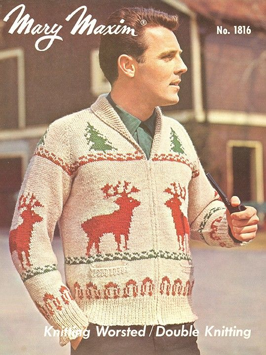 Knit a men's cardigan using Mary Maxim worsted yarn.