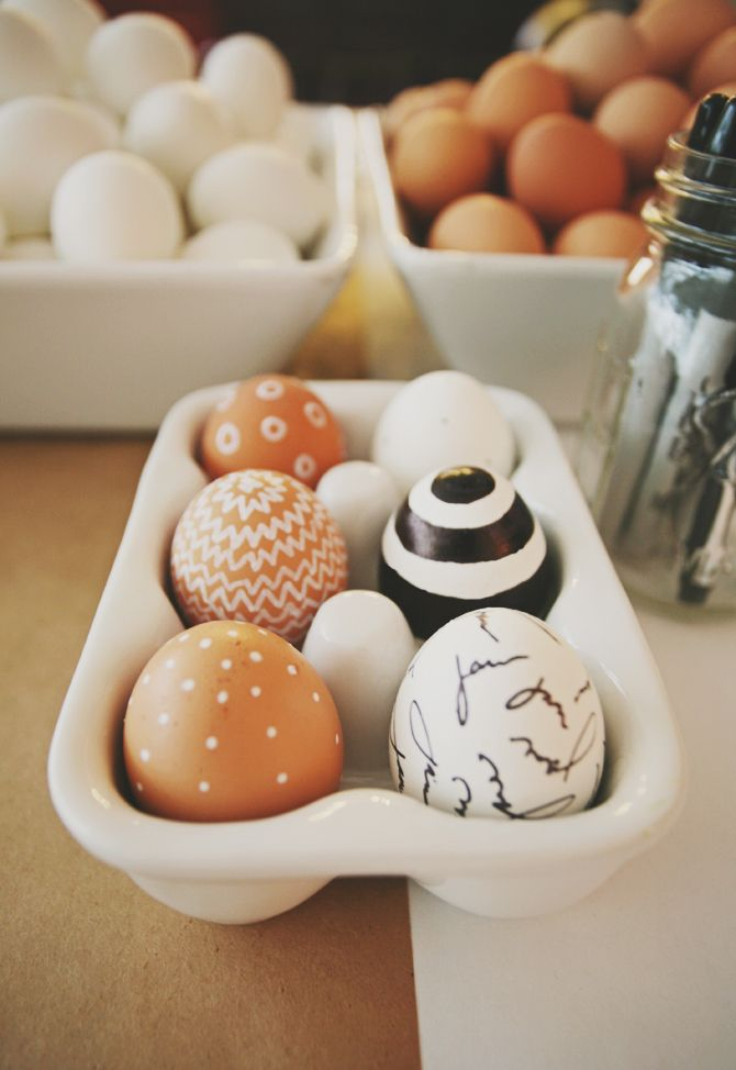 Using white paint on brown eggs