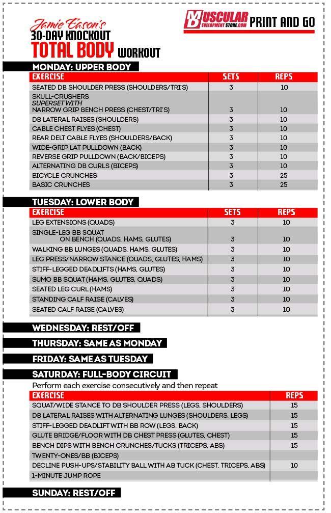 JAMIE EASON TOTAL BODY CHART - 30 day total body
