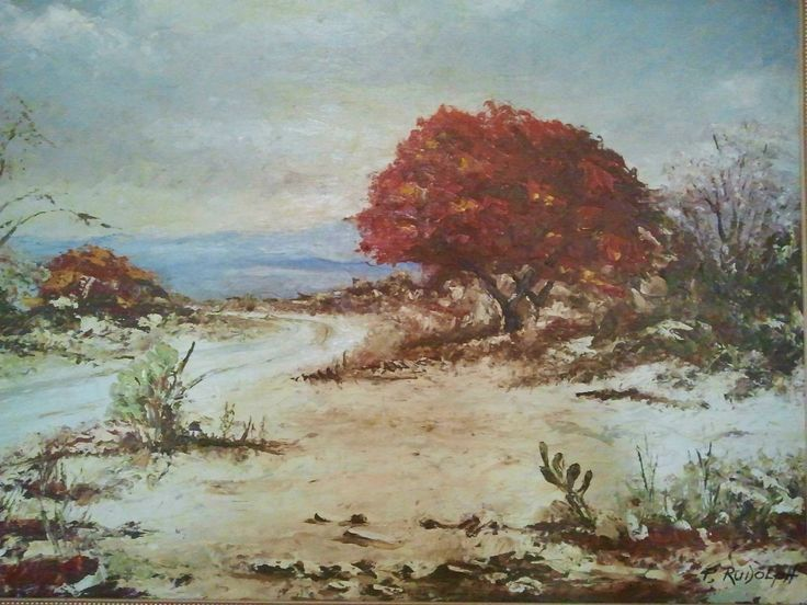 Red Tree by P.L. Rudolph. Oil on board