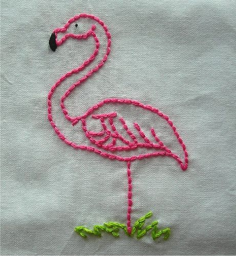 Pink Flamingo embroidery by spookshowbaby77, via Flickr