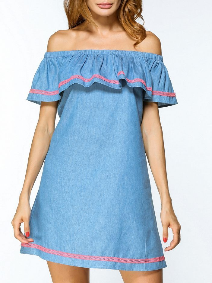 Off Shoulder Sexy Denim Dress Blue