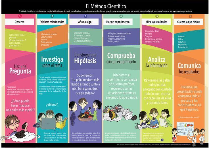 Los pasos básicos del Método Científico en un afiche para la sala de clases.: