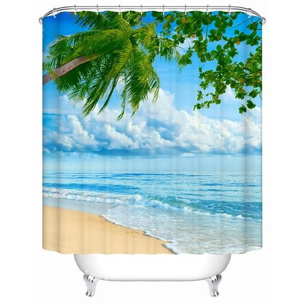 3D Coconut Tree and Beach Scenery Printed Polyester Light Blue Shower Curtain