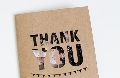 """Fantastic DIY Wedding 'Thank You' Card Idea. Definitely doing this. Cut out """"thank you"""" with wedding picture as you open the card."""