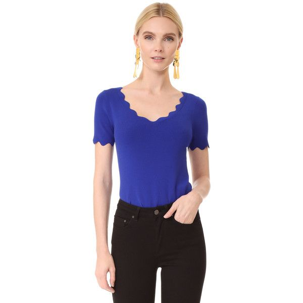 Milly Scallop Tee ($240) ❤ liked on Polyvore featuring tops, t-shirts, cobalt, blue tee, v neck jersey, scallop t shirt, blue t shirt and v neck t shirts