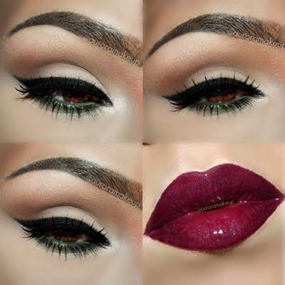 Try a twist on the sexy pin up look with an olive green eye liner. This look, which features a soft smoky eye, is ideal for brown-eyed ladies.