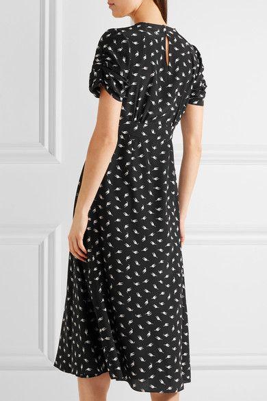 Miu Miu - Printed Silk Crepe De Chine Midi Dress - Black - IT