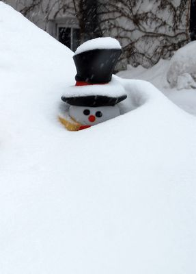 Peekaboo snowman
