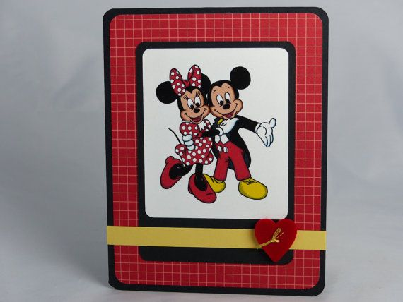 Handmade Greeting Card: Mickey Mouse & Minnie Mouse ...