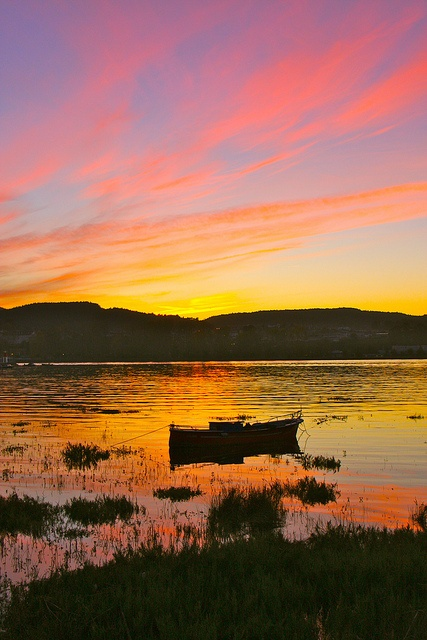 Sunset Boat in Colindres Cantabria  Spain    by erikrasmussen, via Flickr